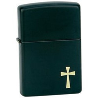Zippo Lighter Matte Black Finish With Cross Size 1-1/2 X 2-1/4 X 1/2 Inch Gift Boxed