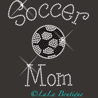Soccer MOM iron on hot fix rhinestone heat transfer - football appliqué -  rhinestone hotfix heat transfer, shirts