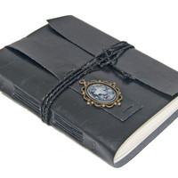 Large Black Faux Leather Wrap Journal with Lined Paper and Cameo Bookmark - Ready To Ship -
