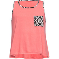 Full Tilt Tribal Print Gils Pocket Tank Coral  In Sizes