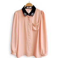 Pearled collar pink blouse