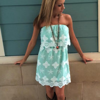 Flower Embroidered Strapless Dress in Mint