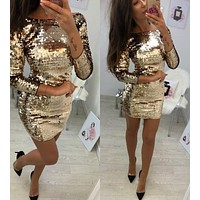 fhotwinter19 Hot fashion sequined long sleeve sexy short skirt