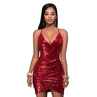 Sexy Womens Bandage Bodycon Sleeveless Sequins Evening Party Mini Dress