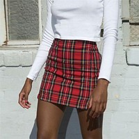 Elegant Plaid Skirts Women Slim Bodycon Mini Skirts Split Harajuku jupe Patchwork Party Club Pencil Skirt faldas mujer moda