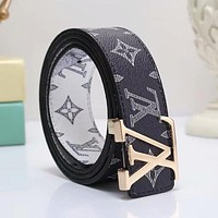 LV Louis Vuitton Trending Woman Men Stylish Smooth Buckle Belt Print Leather Belt(11-Color) Black I-WMXB-PFSH