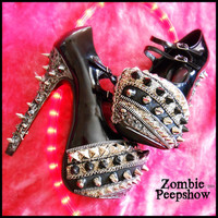 "Studded ""Chromium"" Skull Crossbone Pumps"