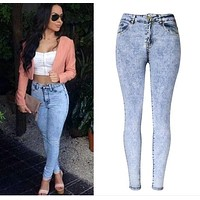 2017 Spring Women High Waist Skinny jeans Fashion Brand Snow Wash pencil pants denim trousers  jeans femme
