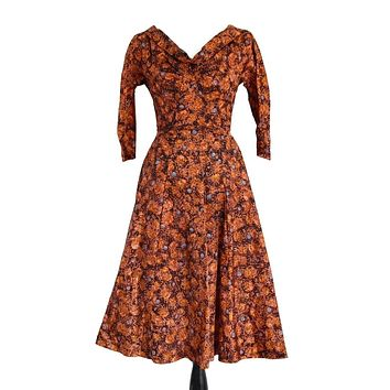 Vintage 1950s Day Dress with Built In Crinoline Pristine Condition