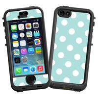 """White Polka Dot on Mint """"Protective Decal Skin"""" for LifeProof nuud iPhone 5s Case"""
