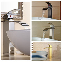 Waterfall Spout Bathroom Faucet Single Handle