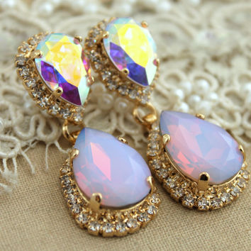 Statement chandelier Pink blush opal earring Bridal jewelry - 14k plated gold earrings real Swarovski.