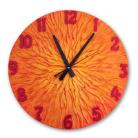 Orange clock, Tangerine Clock, Large WALL CLOCK, Unique clock, Modern wall clock, orange red home decor heavy texture