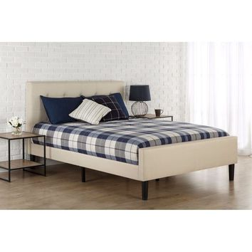 King Size Taupe Upholstered Bed with Button Tufted Headboard & Footboard