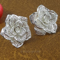 Women Hollow out Rose Flower Earring Ear Studs = 1945900676