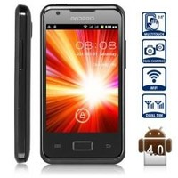 Unlocked Android 4.0 Smart Phone with Dual SIM 3.5 inch HVGA Touch Screen WiFi Dual Cameras (Black)