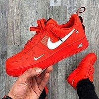 NIKE AIR FORCE 1 AF1 OW Running Sport Shoes Sneakers red