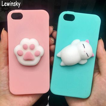 Cute 3d Squishy Cat Silicon TPU Soft Cases For iphone 5 5S SE 6 6s plus Candy Color Back Cover 5 S 7 7plus 8 8plus X phone cases