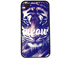Meow iPhone Case / Tiger iPhone 4 Case Animal iPhone 5 Case iPhone 4S Case iPhone 5S Case Leopard Cat Pattern Cute Phone Case