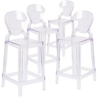 4 Pk. Ghost Counter Stool in Transparent Crystal with Tear Back