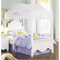Twin Size Victorian Style White Wood Canopy Bed - Fabric Not Included