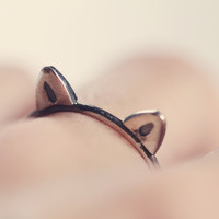 Kitty stacking ring - kitty cat - cat - ring - silver - stacking