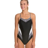 Nike Swim Victory Color Block Cut Out Tank One Piece Swimsuit at SwimOutlet.com - Free Shipping