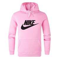 Nike Fashion Women Men Casual Print Long Sleeve Hoodie Sweater Pullover Top Sweatshirt Pink