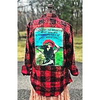 Right Kind of Weird Art Flannel-Distressed Red-Angry Minnow Vintage