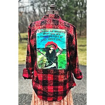 Right Kind of Weird-Distressed Red-Flannel Angry Minnow Vintage