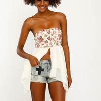Flower and Leaf Cream Top