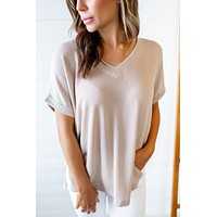 The April Ribbed V-Neck (Taupe)