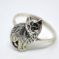 Cat Ring, Sterling Silver Ring, Handforged Rings for Women, Animal Jewelry,