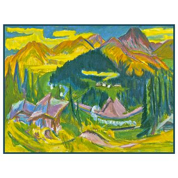 Autumn in Davos Switzerland by Ernst Ludwig Kirchner Counted Cross Stitch Pattern