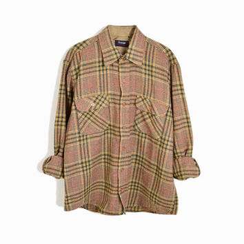 Vintage 70s Plaid Woodsman Shirt in Green & Tan