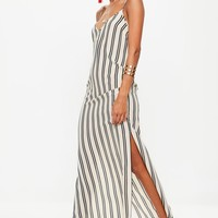 Missguided - White Striped Cami Crepe Shift Maxi Dress