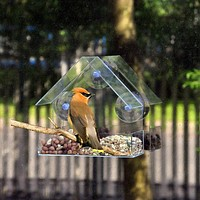 Clear Window Viewing Bird Feeder Hotel Table Seed Peanut Hanging Suction Alimentador Adsorption House Type Bird Feeder FREE SHIPPING