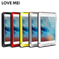 """Love Mei Brand Cover Case for Apple iPad Air/Air 2/Mini 4/Pro 9.7"""" Powerful Shockproof Anti-Fall Aluminum Case w/ Tempered Glass"""