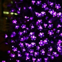 LE® Solar Flower Fairy String Lights 50 LEDs 23ft, Waterproof, Purple Violet, Portable, Blossom Fairy Christmas Lights with Light Sensor, Outdoor and Indoor Use, Ideal for Wedding, Party, Halloween Lights Decoration
