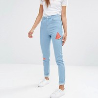Noisy May | Noisy May Donna Mom Jeans with Summer Patches at ASOS