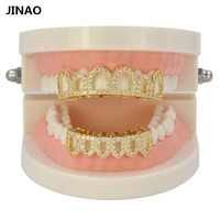 JINAO Hip Hop Teeth Grills Caps Micro Pave CZ Stone Six 6 Open Hollow Top & Bottom Grill Set Men Women Teeth Grillz Ship From US