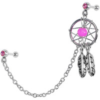 Pink CZ Dreamcatcher Cartilage Tragus Barbell Earring Chain | Body Candy Body Jewelry