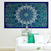 Bohemian Decor Mandala Tapestry Wall Hanging, pure cotton, bohemian style, wall art decor, home décor, blue and green tapestries 1008