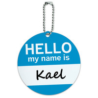 Kael Hello My Name Is Round ID Card Luggage Tag