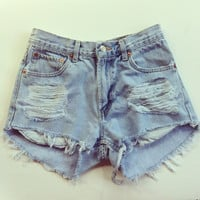Vintage Levi's High Waisted Light Denim Shorts