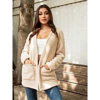 SHEIN Pocket Front Teddy Coat