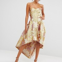 Chi Chi London Bardot Metallic Jacquard Midi Dress with High Low Hem