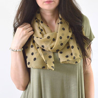 Tan Polka Dot Scarf, Summer Scarf, Polka Dot Shawl, Woman Scarf, Gift for Her