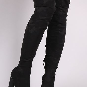 Camouflage Accent Pointy Toe Chunky Heeled Over-The-Knee Boots