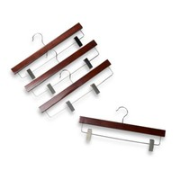 11-Inch Skirt Hangers with Clamps in Red Mahogany Wood (Set of 4)